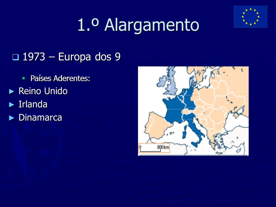1.º Alargamento  1973 – Europa dos 9  Países Aderentes: ► Reino Unido ► Irlanda ► Dinamarca