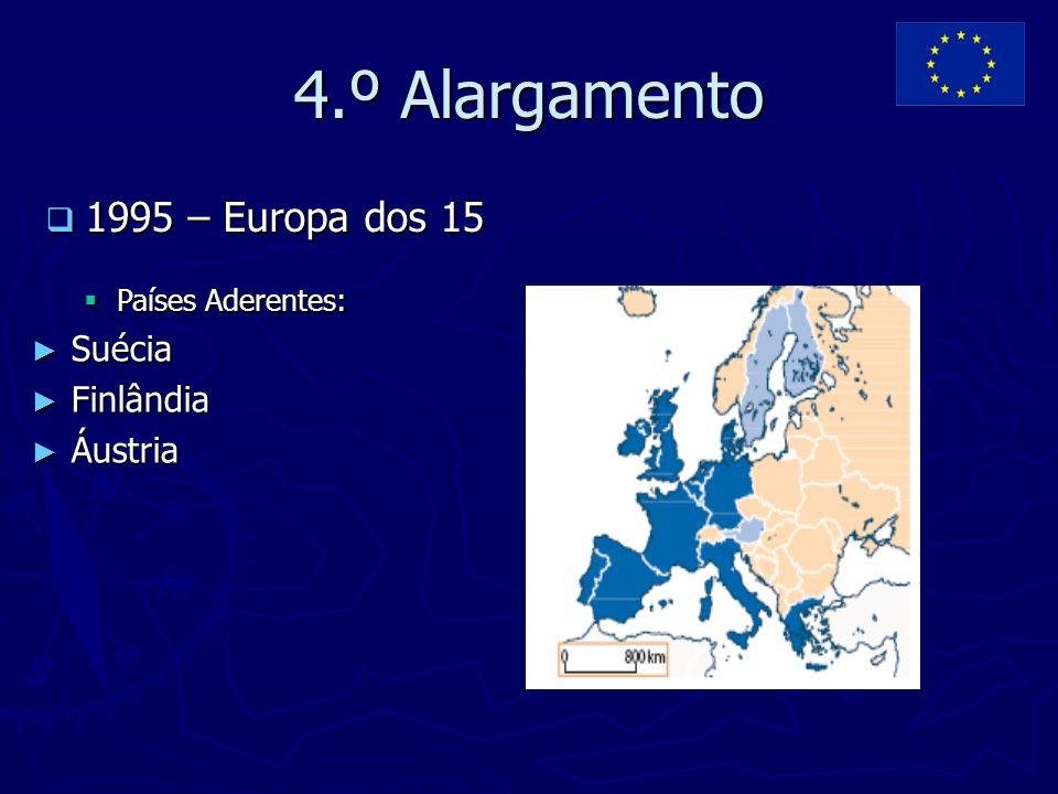 5.º Alargamento  2004 – Europa dos 25  Países Aderentes: ► Estónia ► Letónia ► Lituânia ► Polónia ► República Checa ► Eslováquia ► Eslovénia ► Hungria ► Chipre ► Malta