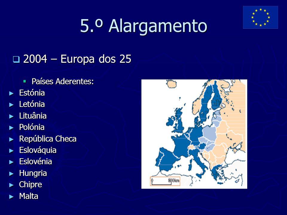5.º Alargamento  2004 – Europa dos 25  Países Aderentes: ► Estónia ► Letónia ► Lituânia ► Polónia ► República Checa ► Eslováquia ► Eslovénia ► Hungr