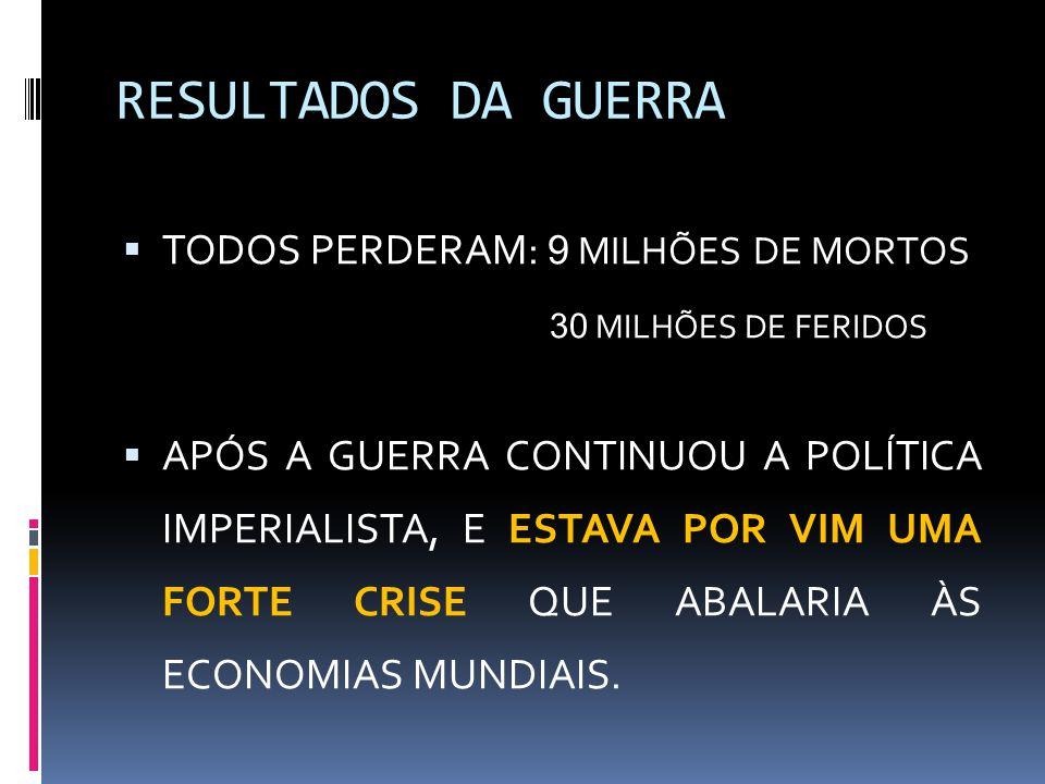 RESULTADOS DA GUERRA  TODOS PERDERAM: 9 MILHÕES DE MORTOS 30 MILHÕES DE FERIDOS  APÓS A GUERRA CONTINUOU A POLÍTICA IMPERIALISTA, E ESTAVA POR VIM U