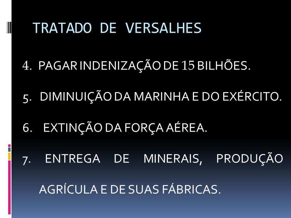 TRATADO DE VERSALHES 4. PAGAR INDENIZAÇÃO DE 15 BILHÕES. 5. DIMINUIÇÃO DA MARINHA E DO EXÉRCITO. 6. EXTINÇÃO DA FORÇA AÉREA. 7. ENTREGA DE MINERAIS, P
