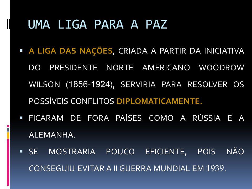 UMA LIGA PARA A PAZ  A LIGA DAS NAÇÕES, CRIADA A PARTIR DA INICIATIVA DO PRESIDENTE NORTE AMERICANO WOODROW WILSON ( 1856-1924 ), SERVIRIA PARA RESOL
