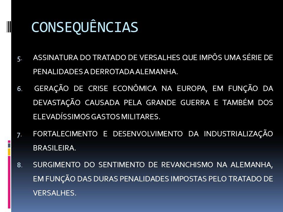 CONSEQUÊNCIAS 5. ASSINATURA DO TRATADO DE VERSALHES QUE IMPÔS UMA SÉRIE DE PENALIDADES A DERROTADA ALEMANHA. 6. GERAÇÃO DE CRISE ECONÔMICA NA EUROPA,