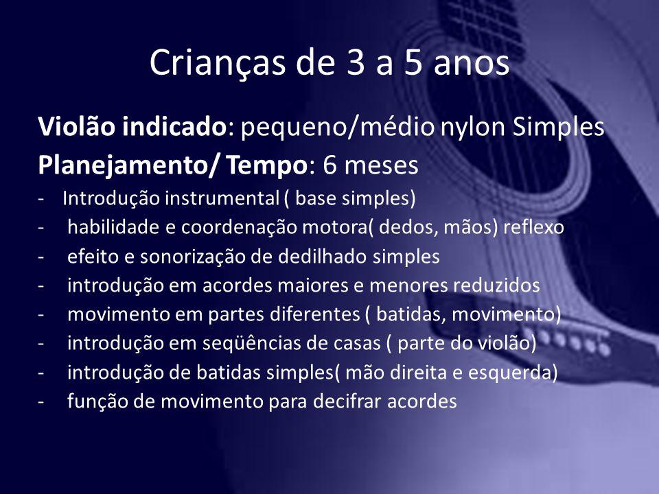 Crianças de 3 a 5 anos Violão indicado: pequeno/médio nylon Simples Planejamento/ Tempo: 6 meses -Introdução instrumental ( base simples) - habilidade