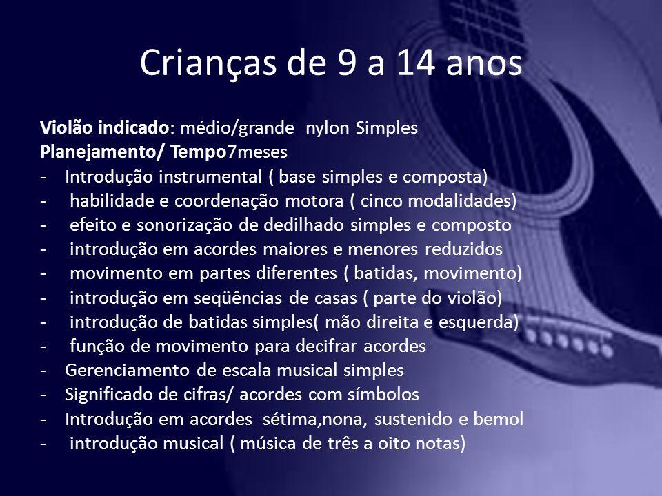 Crianças de 9 a 14 anos Violão indicado: médio/grande nylon Simples Planejamento/ Tempo7meses -Introdução instrumental ( base simples e composta) - ha