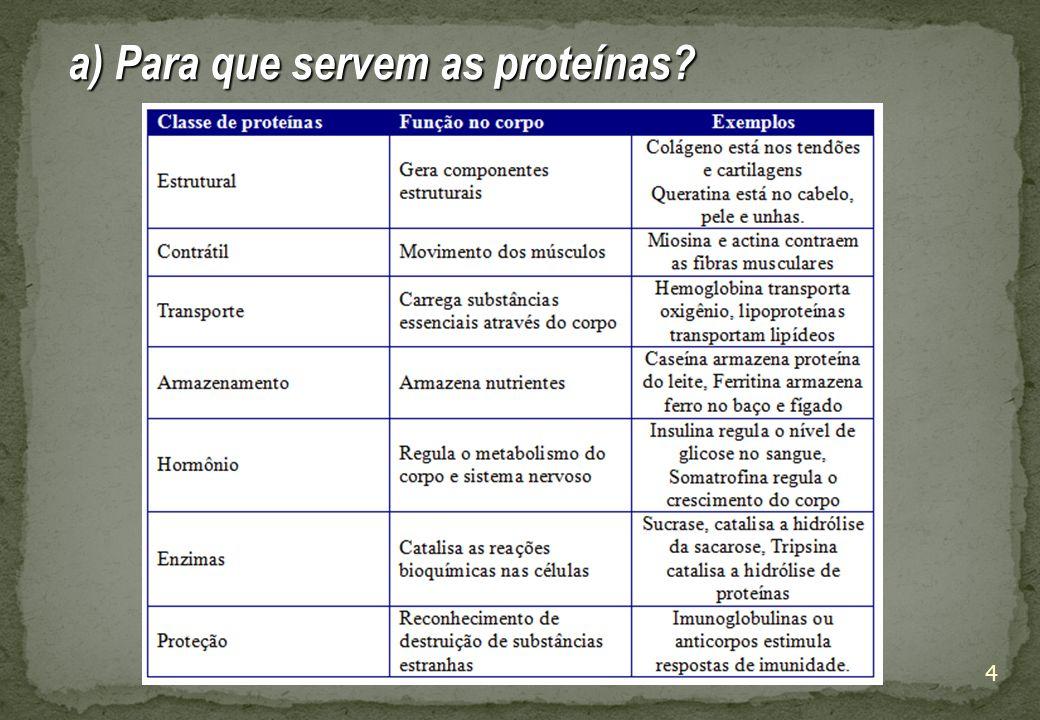 4 a) Para que servem as proteínas?
