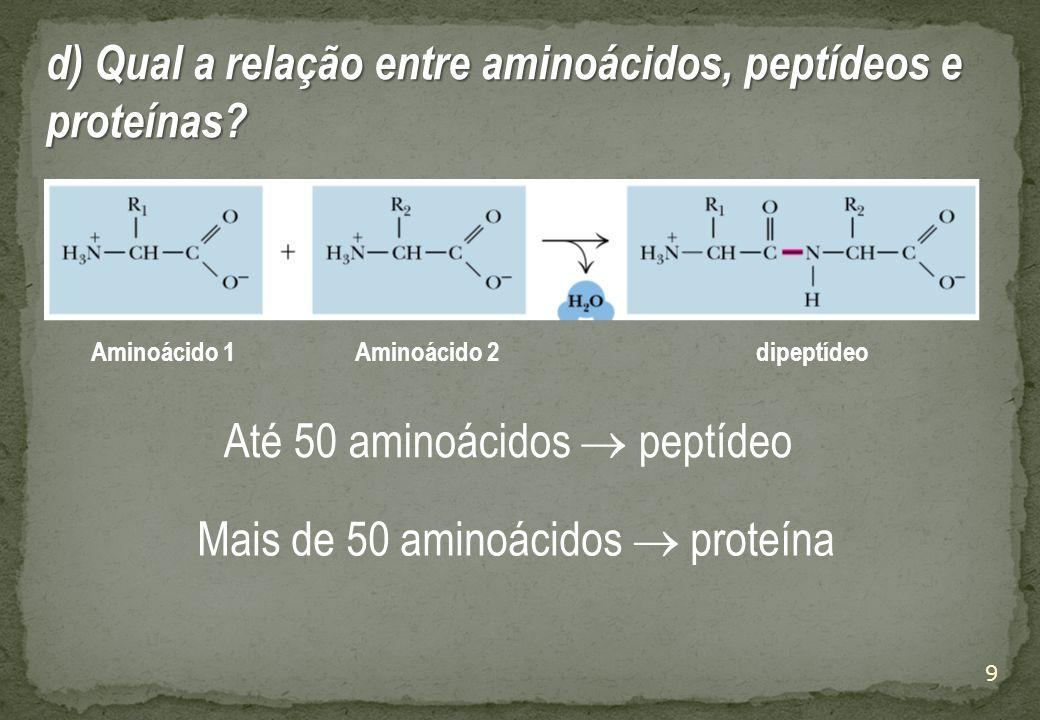 9 Aminoácido 1Aminoácido 2dipeptídeo Até 50 aminoácidos  peptídeo Mais de 50 aminoácidos  proteína d) Qual a relação entre aminoácidos, peptídeos e proteínas?