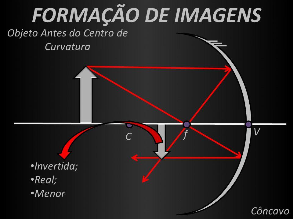 FORMAÇÃO DE IMAGENS f V C Côncavo Objeto Antes do Centro de Curvatura Invertida; Real; Menor