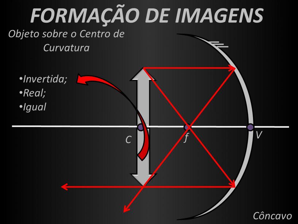 FORMAÇÃO DE IMAGENS f V C Côncavo Objeto sobre o Centro de Curvatura Invertida; Real; Igual