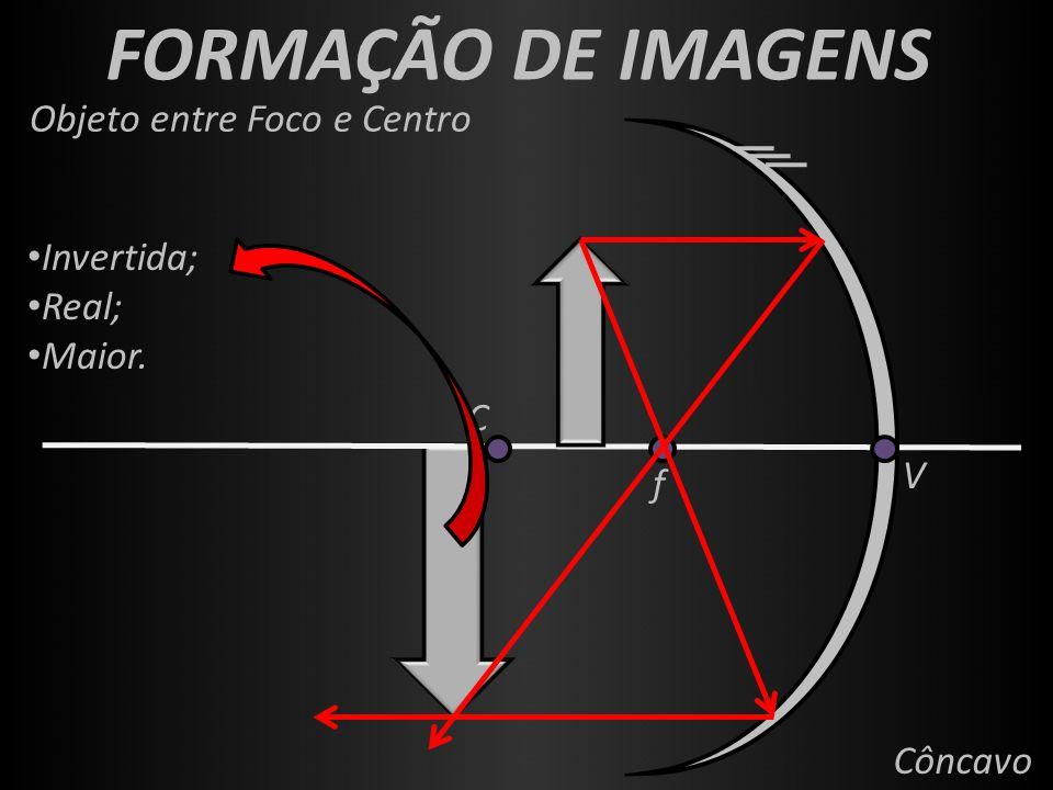 FORMAÇÃO DE IMAGENS f V C Côncavo Objeto entre Foco e Centro Invertida; Real; Maior.