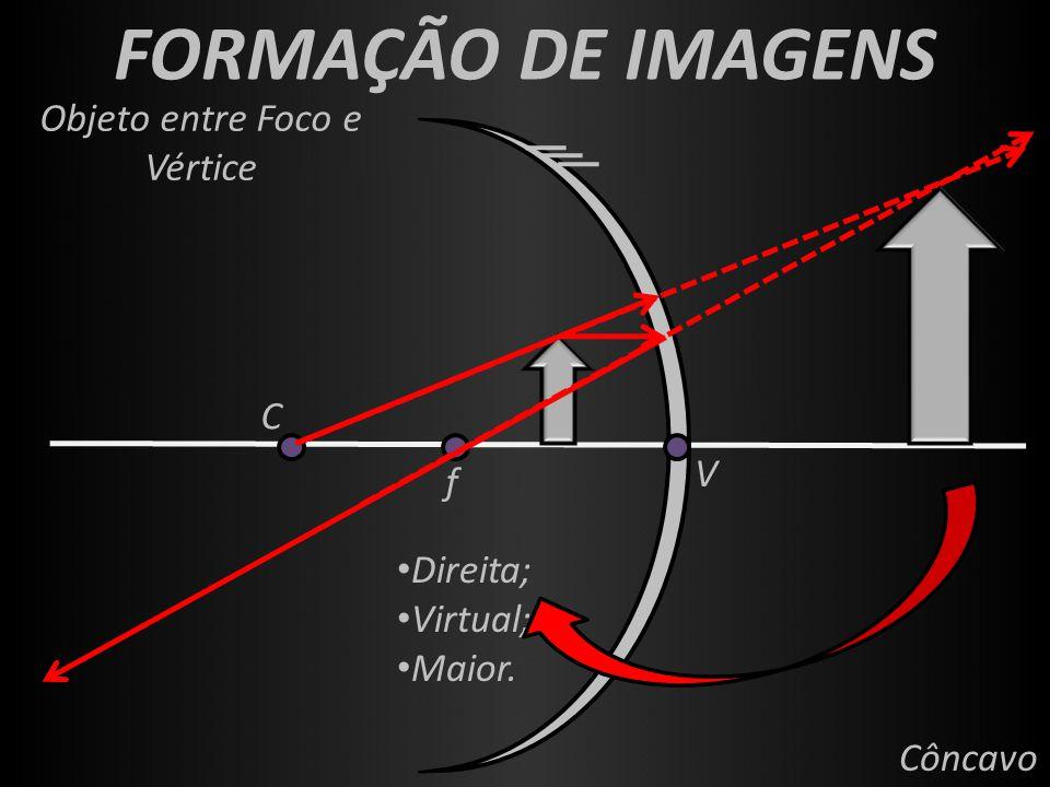 FORMAÇÃO DE IMAGENS f V C Côncavo Objeto entre Foco e Vértice Direita; Virtual; Maior.