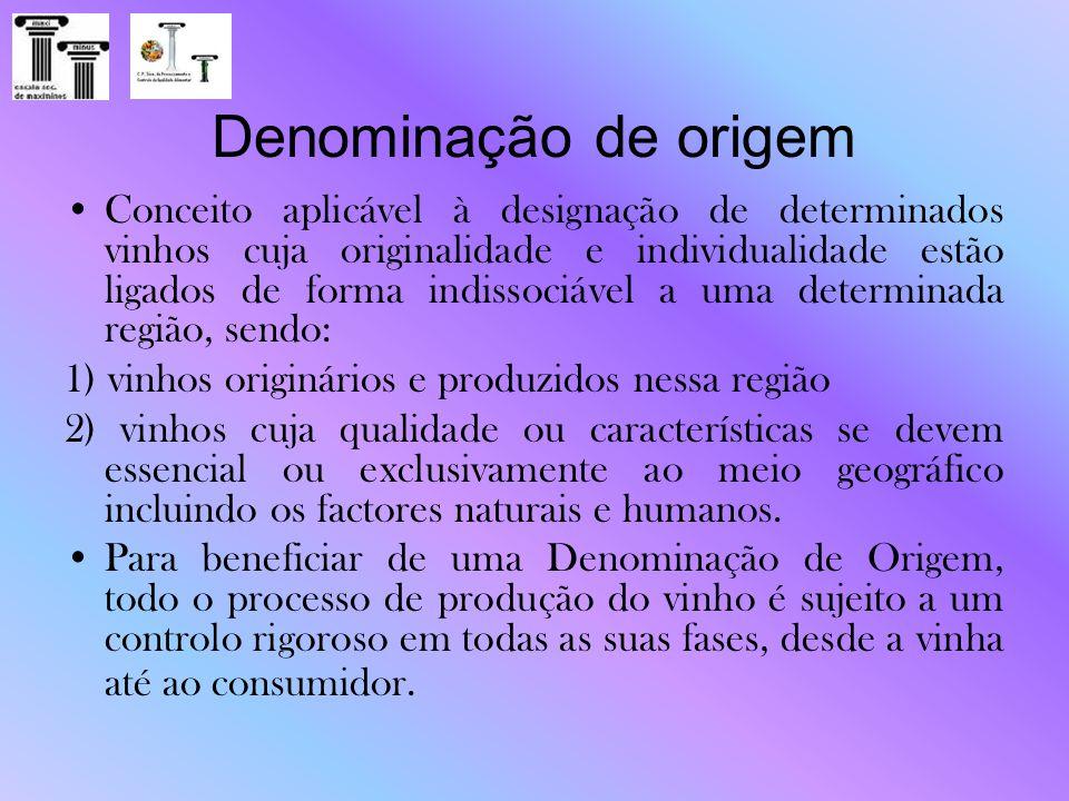 Denominação de origem Conceito aplicável à designação de determinados vinhos cuja originalidade e individualidade estão ligados de forma indissociável