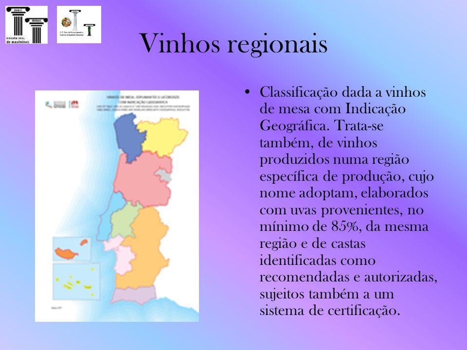 Vinhos regionais Classificação dada a vinhos de mesa com Indicação Geográfica. Trata-se também, de vinhos produzidos numa região específica de produçã