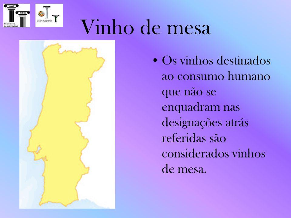 Vinho de mesa Os vinhos destinados ao consumo humano que não se enquadram nas designações atrás referidas são considerados vinhos de mesa.