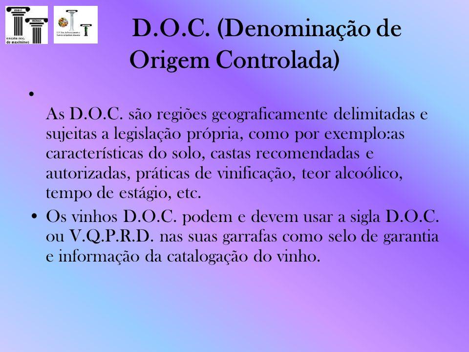 D.O.C. (Denominação de Origem Controlada) As D.O.C. são regiões geograficamente delimitadas e sujeitas a legislação própria, como por exemplo:as carac