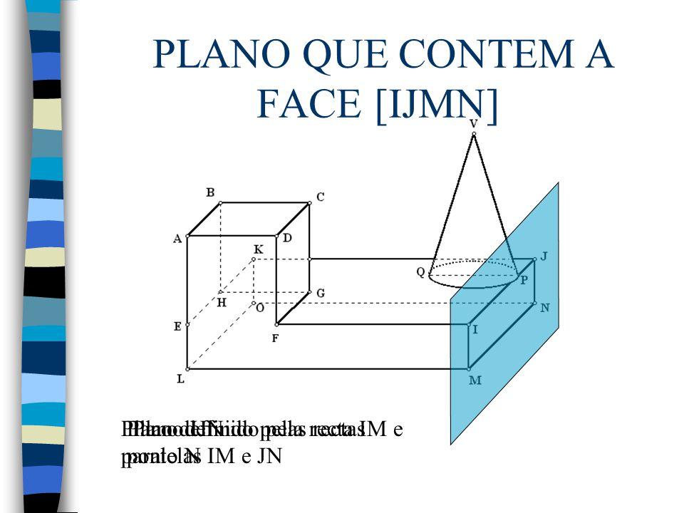 PLANO QUE CONTEM A FACE [IJMN] Plano IJNPlano definido pela recta IM e ponto N Plano definido pelas rectas paralelas IM e JN