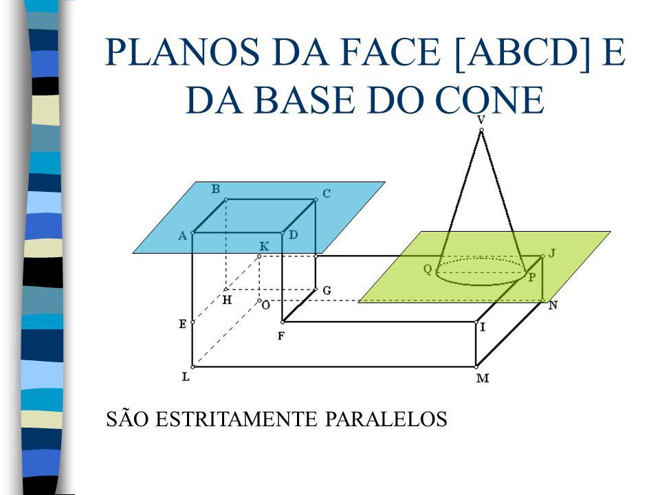 PLANOS DA FACE [ABCD] E DA BASE DO CONE SÃO ESTRITAMENTE PARALELOS