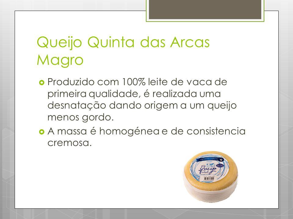 Queijo Quinta das Arcas Magro  Produzido com 100% leite de vaca de primeira qualidade, é realizada uma desnatação dando origem a um queijo menos gordo.