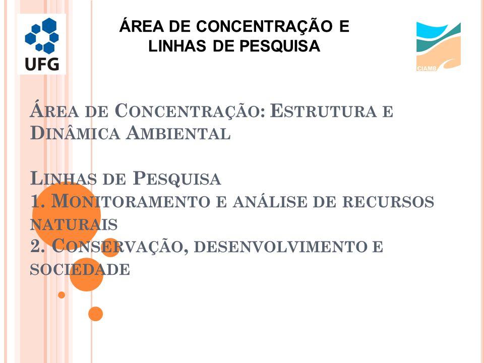 Á REA DE C ONCENTRAÇÃO : E STRUTURA E D INÂMICA A MBIENTAL L INHAS DE P ESQUISA 1.