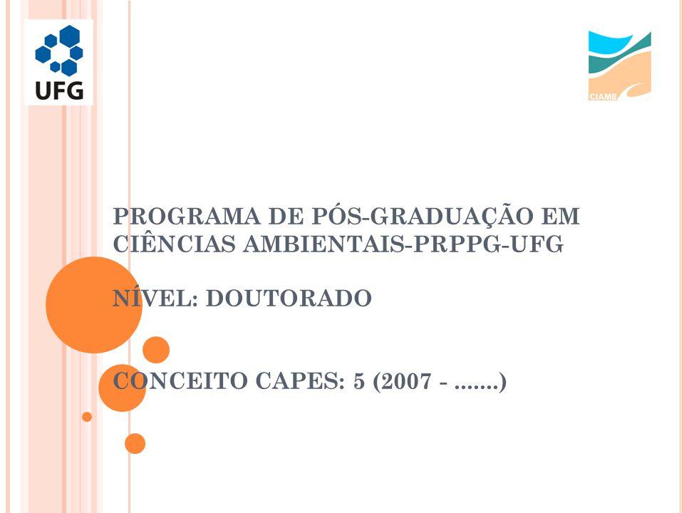 PÓS-GRADUAÇÃO V INCULAÇÃO À PRPPG-UFG, DE CARÁTER MULTIDISCIPLINAR A TÉ 2012 COORDENAÇÃO DE ÁREA INTERDISCIPLINAR A PARTIR DE 2012 COORDENAÇÃO DE ÁREA C IÊNCIAS A MBIENTAIS ESTRUTURA ACADÊMICA