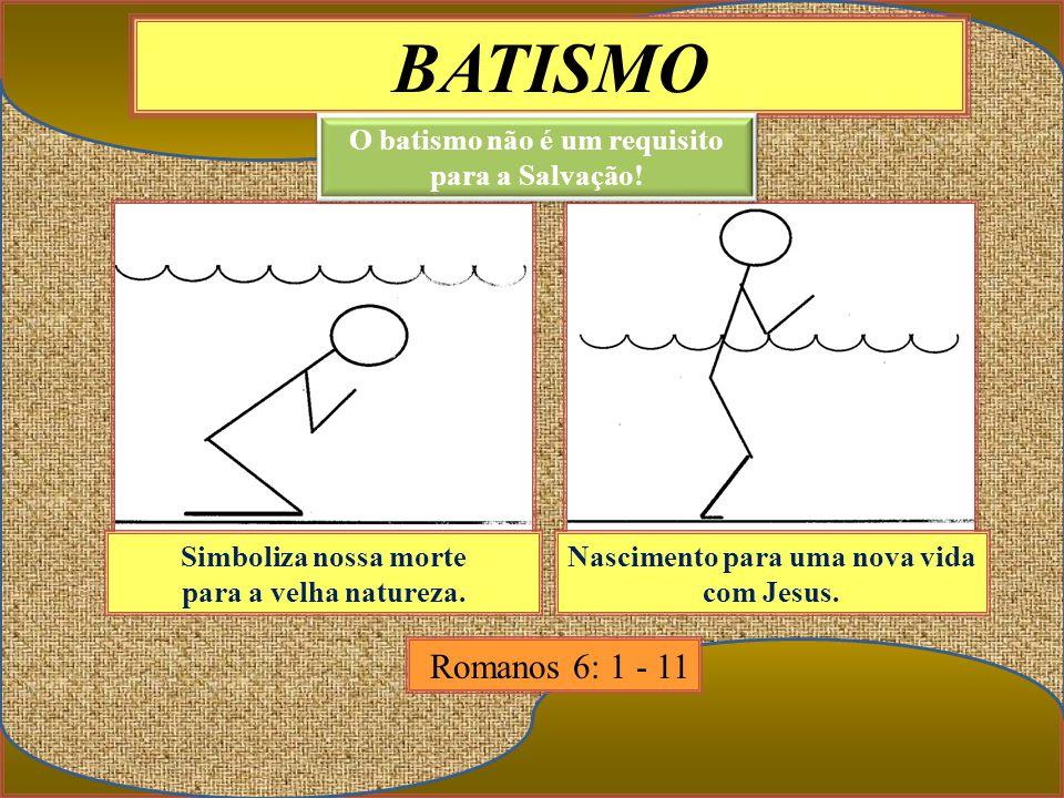 BATISMO Simboliza nossa morte para a velha natureza. Nascimento para uma nova vida com Jesus. Romanos 6: 1 - 11 O batismo não é um requisito para a Sa