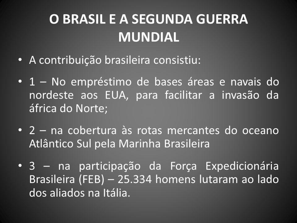 O BRASIL E A SEGUNDA GUERRA MUNDIAL A contribuição brasileira consistiu: 1 – No empréstimo de bases áreas e navais do nordeste aos EUA, para facilitar
