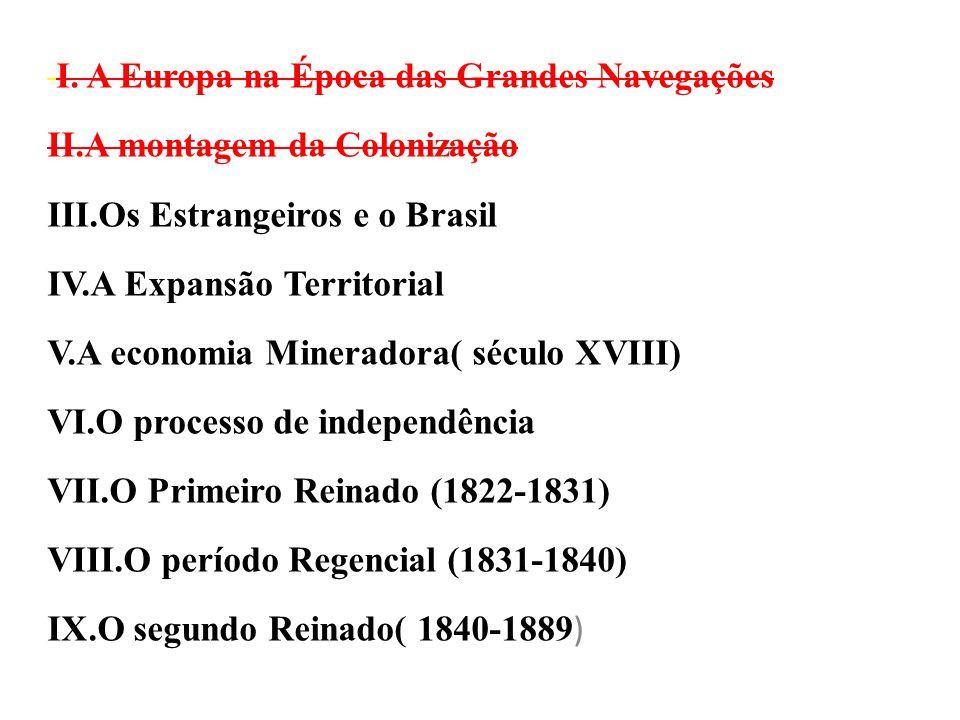 I. A Europa na Época das Grandes Navegações II.A montagem da Colonização III.Os Estrangeiros e o Brasil IV.A Expansão Territorial V.A economia Minerad