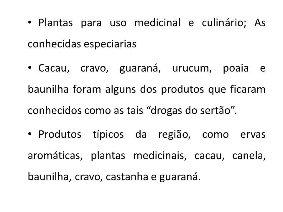 Plantas para uso medicinal e culinário; As conhecidas especiarias Cacau, cravo, guaraná, urucum, poaia e baunilha foram alguns dos produtos que ficaram conhecidos como as tais drogas do sertão .
