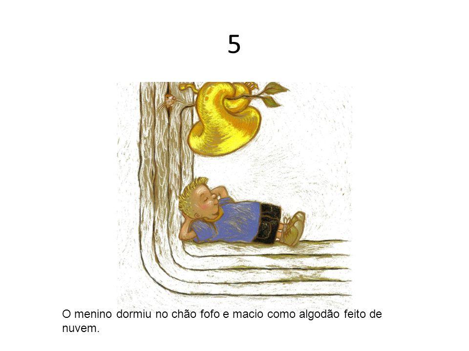 5 O menino dormiu no chão fofo e macio como algodão feito de nuvem.