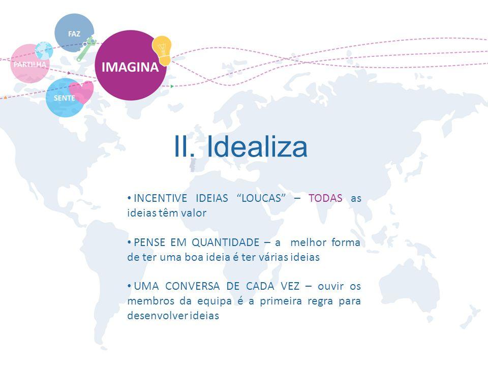 """II. Idealiza INCENTIVE IDEIAS """"LOUCAS"""" – TODAS as ideias têm valor PENSE EM QUANTIDADE – a melhor forma de ter uma boa ideia é ter várias ideias UMA C"""