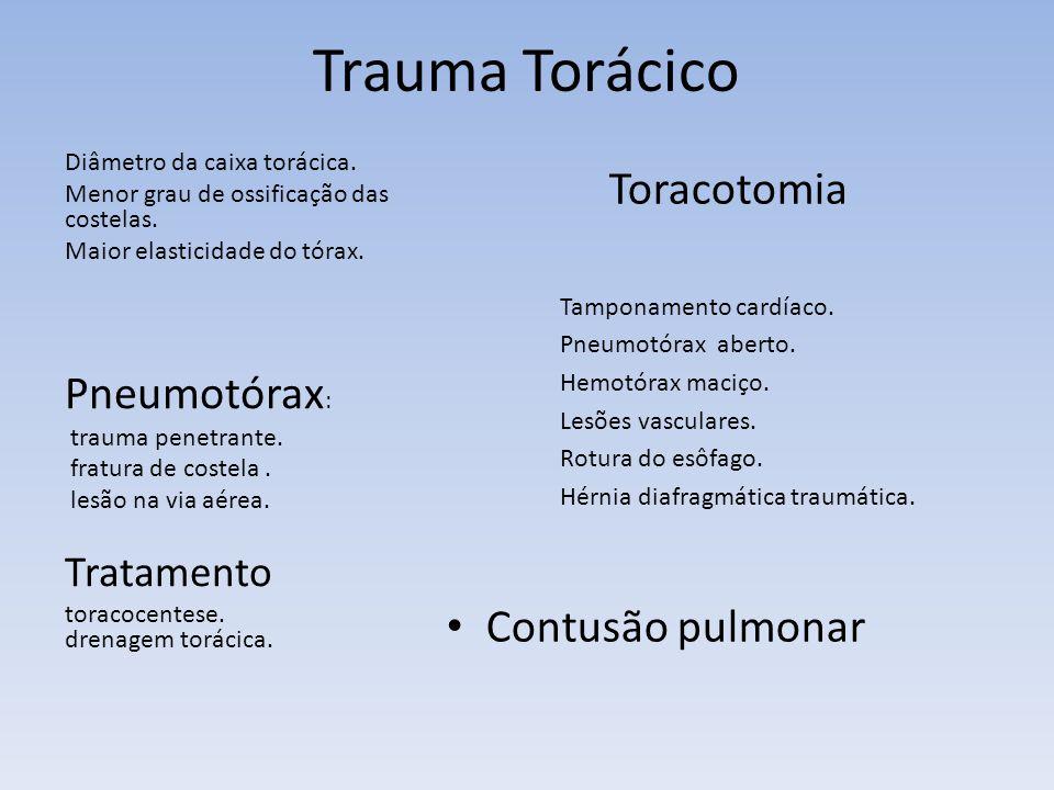 Trauma Torácico Toracotomia Tamponamento cardíaco. Pneumotórax aberto. Hemotórax maciço. Lesões vasculares. Rotura do esôfago. Hérnia diafragmática tr