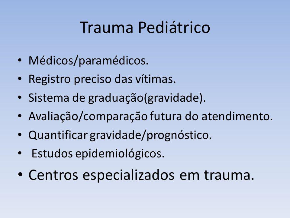 Trauma Pediátrico Médicos/paramédicos. Registro preciso das vítimas. Sistema de graduação(gravidade). Avaliação/comparação futura do atendimento. Quan