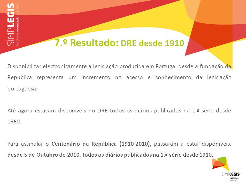 7.º Resultado: DRE desde 1910 Disponibilizar electronicamente a legislação produzida em Portugal desde a fundação da República representa um incremento no acesso e conhecimento da legislação portuguesa.