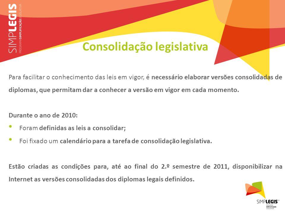Consolidação legislativa Para facilitar o conhecimento das leis em vigor, é necessário elaborar versões consolidadas de diplomas, que permitam dar a conhecer a versão em vigor em cada momento.