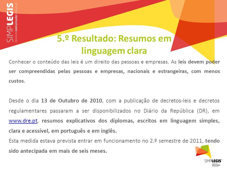 5.º Resultado: Resumos em linguagem clara Conhecer o conteúdo das leis é um direito das pessoas e empresas.