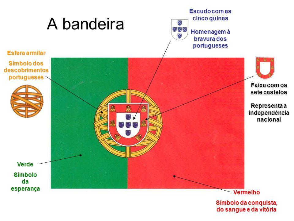 A bandeira Verde Símbolo da esperança Vermelho Símbolo da conquista, do sangue e da vitória Esfera armilar Símbolo dos descobrimentos portugueses Escu