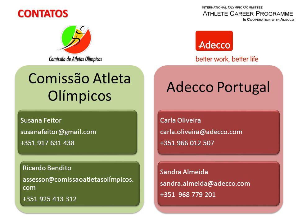 CONTATOS Comissão Atleta Olímpicos Susana Feitor susanafeitor@gmail.com +351 917 631 438 Ricardo Bendito assessor@comissaoatletasolímpicos.