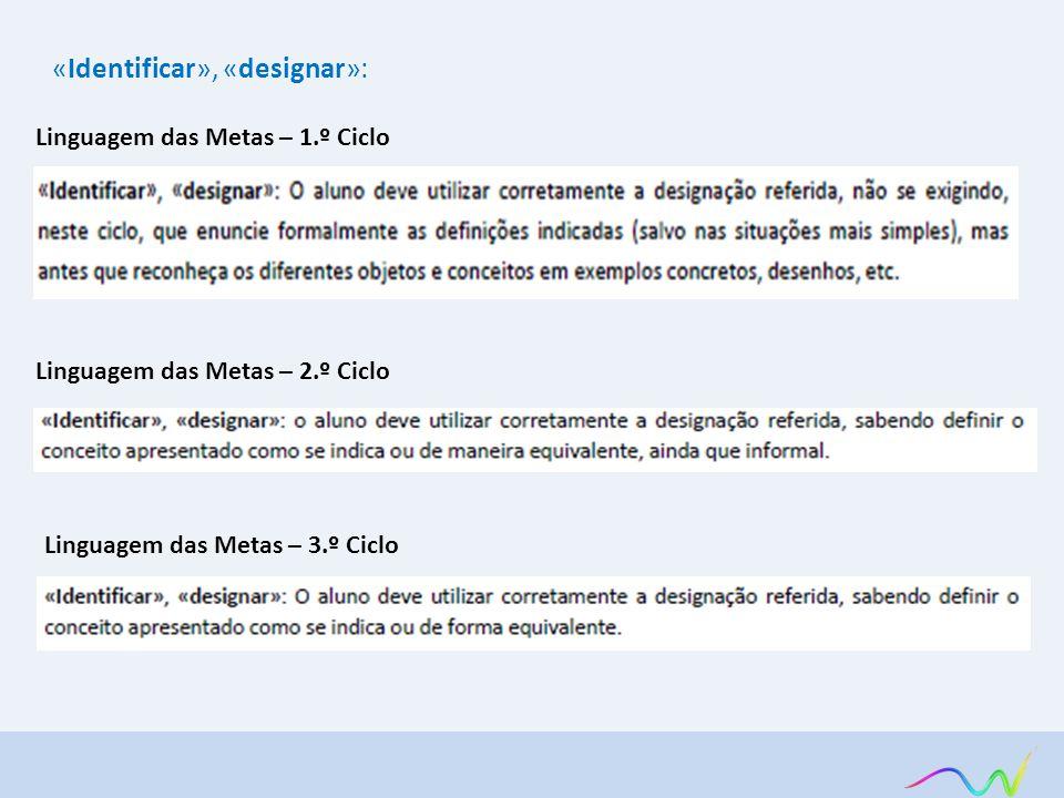 Linguagem das Metas – 1.º Ciclo «Identificar», «designar»: Linguagem das Metas – 2.º Ciclo Linguagem das Metas – 3.º Ciclo