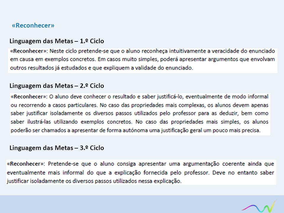 «Reconhecer» Linguagem das Metas – 1.º Ciclo Linguagem das Metas – 2.º Ciclo Linguagem das Metas – 3.º Ciclo