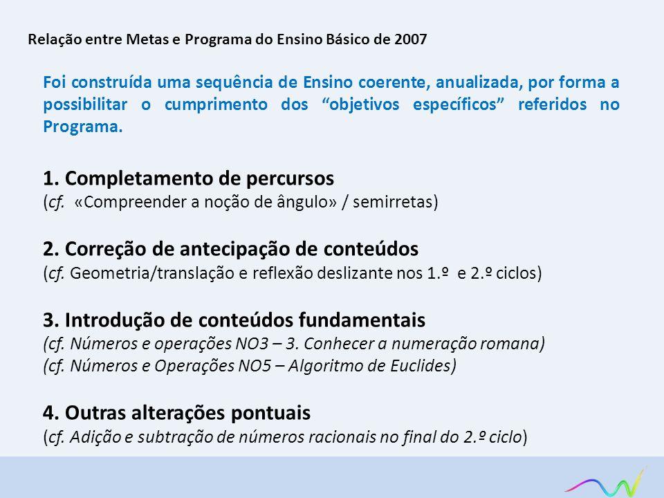 Relação entre Metas e Programa do Ensino Básico de 2007 Foi construída uma sequência de Ensino coerente, anualizada, por forma a possibilitar o cumpri