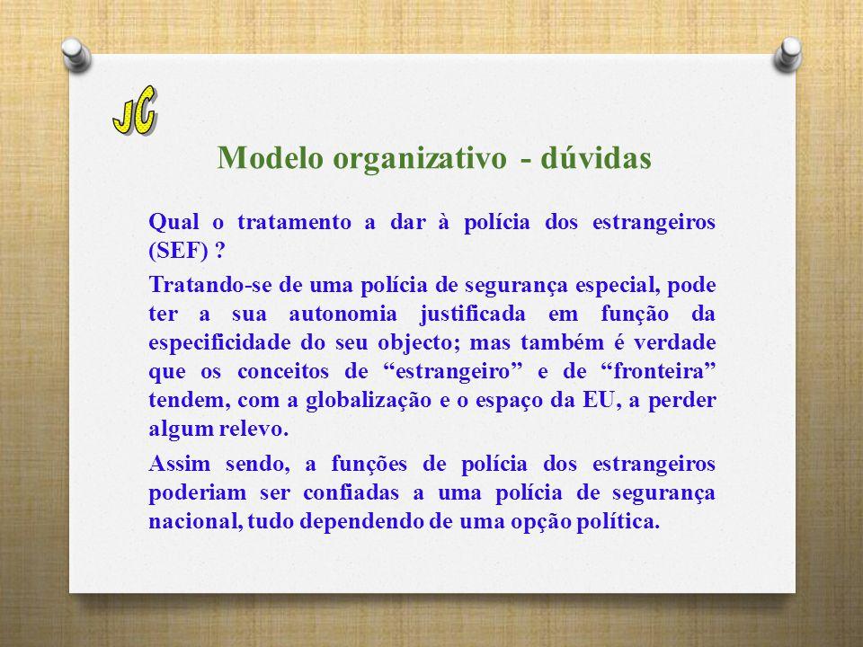 Modelo organizativo - dúvidas Qual o tratamento a dar à polícia dos estrangeiros (SEF) .