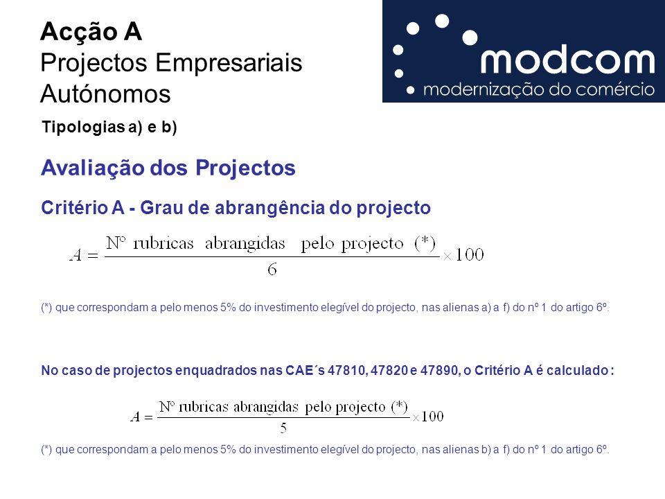 Acção A Projectos Empresariais Autónomos Critério A - Grau de abrangência do projecto (*) que correspondam a pelo menos 5% do investimento elegível do