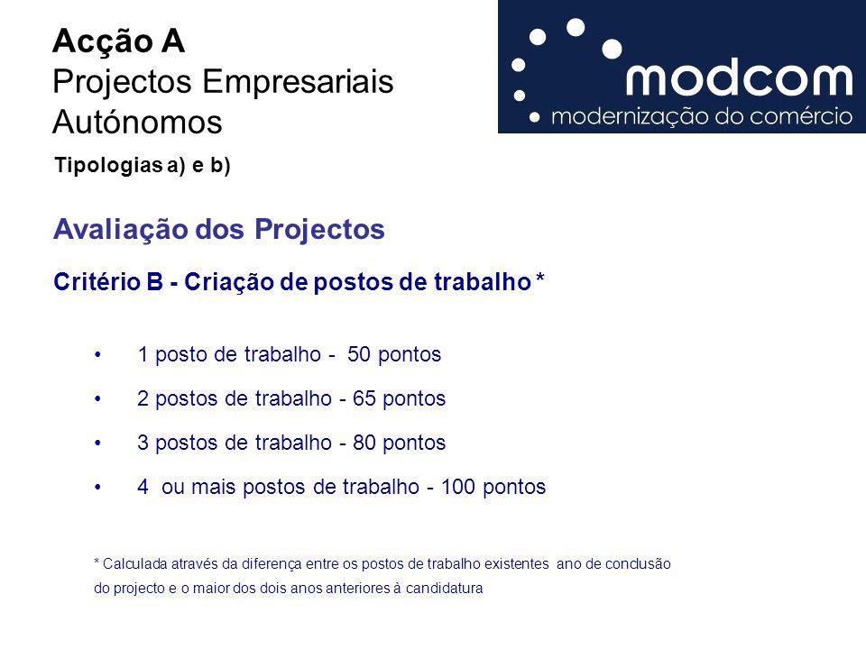 Acção A Projectos Empresariais Autónomos 1 posto de trabalho - 50 pontos 2 postos de trabalho - 65 pontos 3 postos de trabalho - 80 pontos 4 ou mais p