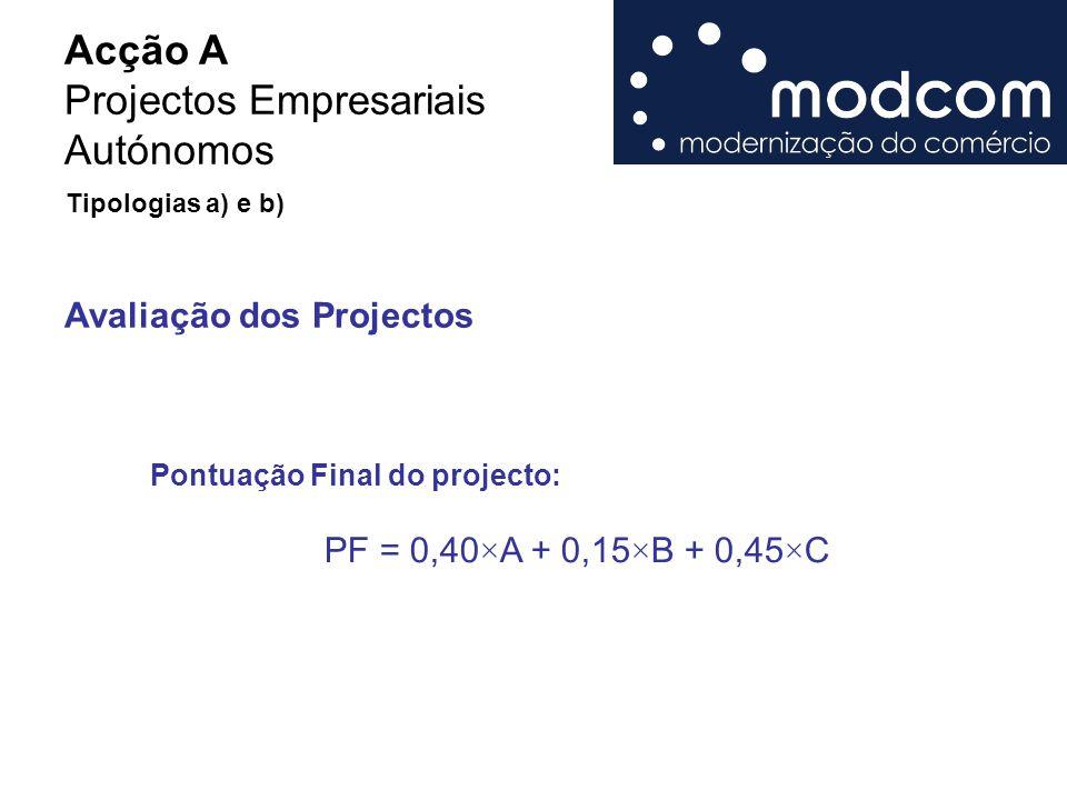 Acção A Projectos Empresariais Autónomos Avaliação dos Projectos Pontuação Final do projecto: PF = 0,40×A + 0,15×B + 0,45×C Tipologias a) e b)