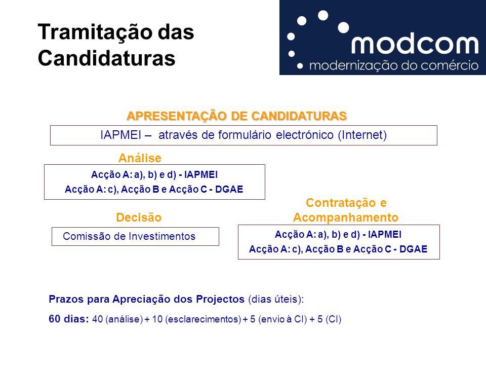 Tramitação das Candidaturas APRESENTAÇÃO DE CANDIDATURAS APRESENTAÇÃO DE CANDIDATURAS Análise Decisão IAPMEI – através de formulário electrónico (Internet) Acção A: a), b) e d) - IAPMEI Acção A: c), Acção B e Acção C - DGAE Comissão de Investimentos Contratação e Acompanhamento Prazos para Apreciação dos Projectos (dias úteis): 60 dias: 40 (análise) + 10 (esclarecimentos) + 5 (envio à CI) + 5 (CI) Acção A: a), b) e d) - IAPMEI Acção A: c), Acção B e Acção C - DGAE