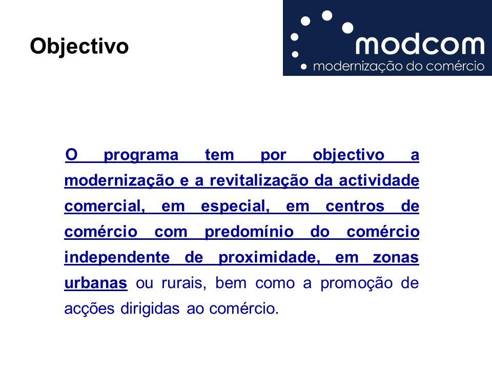 Objectivo O programa tem por objectivo a modernização e a revitalização da actividade comercial, em especial, em centros de comércio com predomínio do comércio independente de proximidade, em zonas urbanas ou rurais, bem como a promoção de acções dirigidas ao comércio.