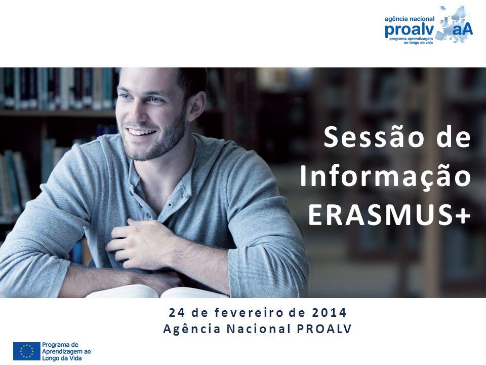 Sessão de Informação ERASMUS+ 24 de fevereiro de 2014 Agência Nacional PROALV