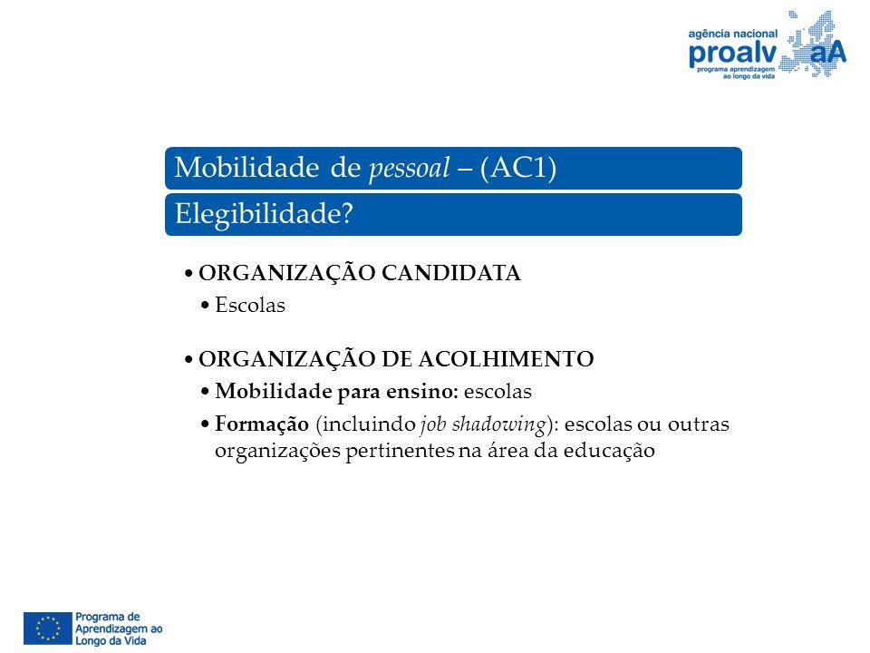 Mobilidade de pessoal – (AC1)Elegibilidade? ORGANIZAÇÃO CANDIDATA Escolas ORGANIZAÇÃO DE ACOLHIMENTO Mobilidade para ensino: escolas Formação (incluin