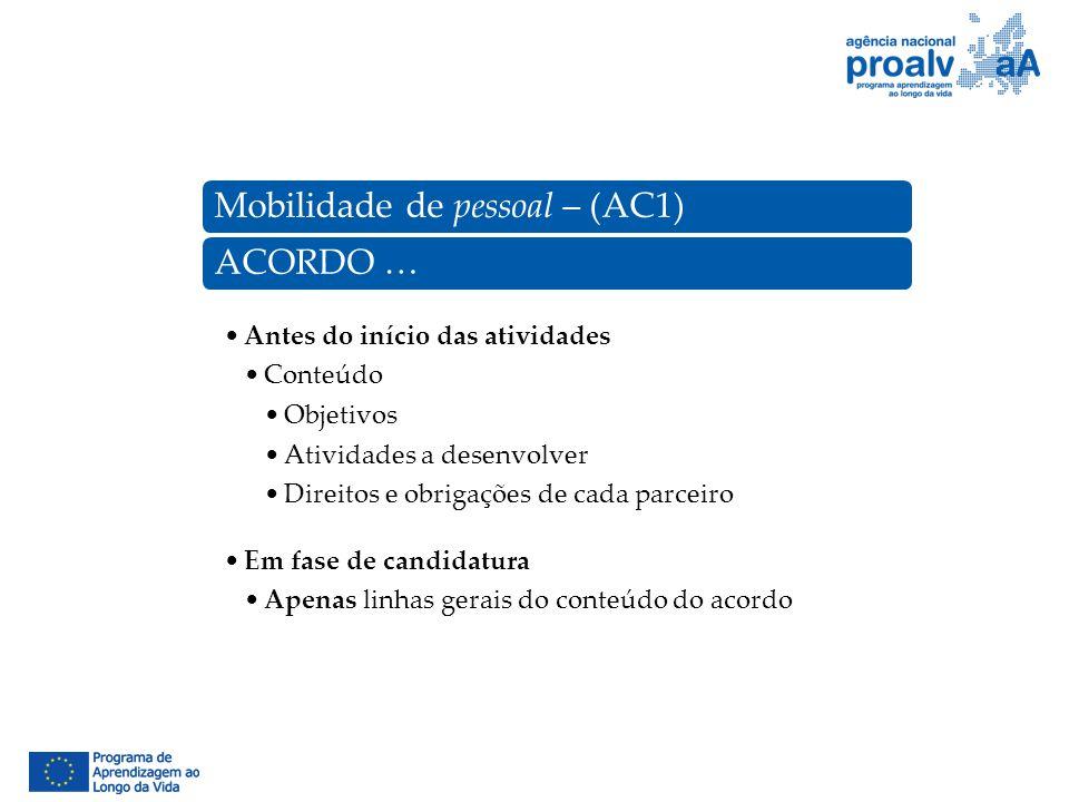 Mobilidade de pessoal – (AC1)ACORDO … Antes do início das atividades Conteúdo Objetivos Atividades a desenvolver Direitos e obrigações de cada parceir