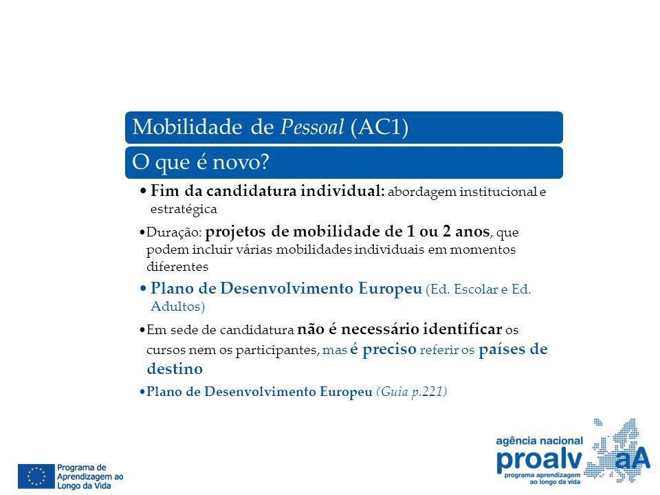 Mobilidade de Pessoal (AC1)O que é novo? Fim da candidatura individual: abordagem institucional e estratégica Duração: projetos de mobilidade de 1 ou